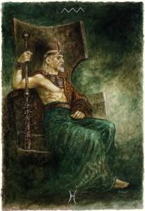 luis-royo_the-labyrinth-tarot_minor-arcana_wands_king-of-wands