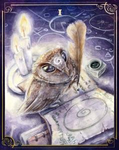the_owl_tarot___i_the_magician__phodilus_badius__by_onislogo-d92ozak